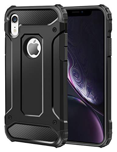 Coolden iPhone XR Hülle, Premium [Armor Serie] Outdoor Stoßfest Schutzhülle Tough Silikon + Hard Bumper Militärstandard Handyhülle für Apple iPhone XR 6.1 Zoll (Schwarz)