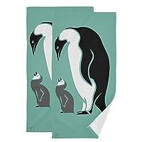 フェイスタオル 吸水 速乾 黒 白 ペンギン 72x36.5cm 2枚セット タオル 柔らか マイクロファイバー 家庭 耐久性 防臭 ジム スポーツ 軽量 薄手 通気性 プリント かわいい おしゃれ 肌触り抜群