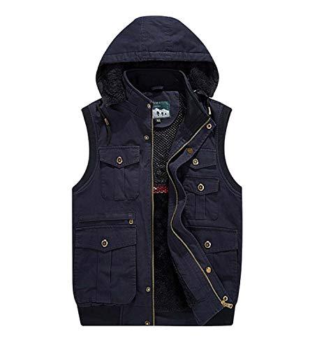 GL SUIT Winter Mens Padded Gilet mit Kapuze Körperwärmer Vest Multi-Tasche Weste Bequeme Fleece Liner Weste...