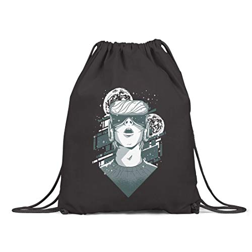 BLAK TEE Amazing Virtual Reality VR Illustration Organic Cotton Drawstring Gym Bag Black