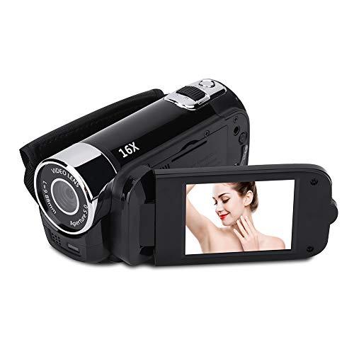Tosuny Camcorder Videokamera 1080P Full HD Digital Camcorder DV-Kamera Nachtsicht 16-Fach Zoom Vlogging-Kamera mit 270-Grad-Drehbildschirm, geeignet für Home-Party/Picknick im Freien/Camping(Schwarz)