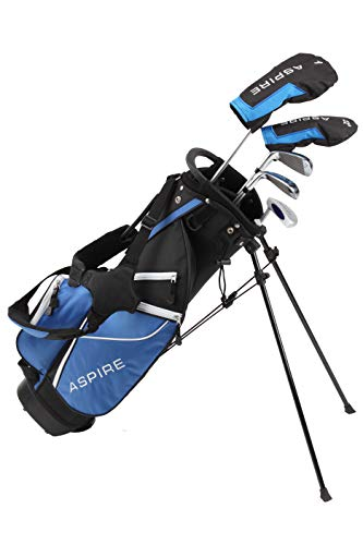 Aspire Golf Junior Plus Complete Golf Club Set for Children Kids - 5 Age Groups Boys & Girls - Right Hand (Blue Ages 9-10)