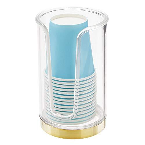 mDesign Soporte para vasos de usar y tirar – Dispensadores de vasos para agua y enjuague bucal – Portavasos con 14 vasos incluidos para la higiene bucal – transparente y latón