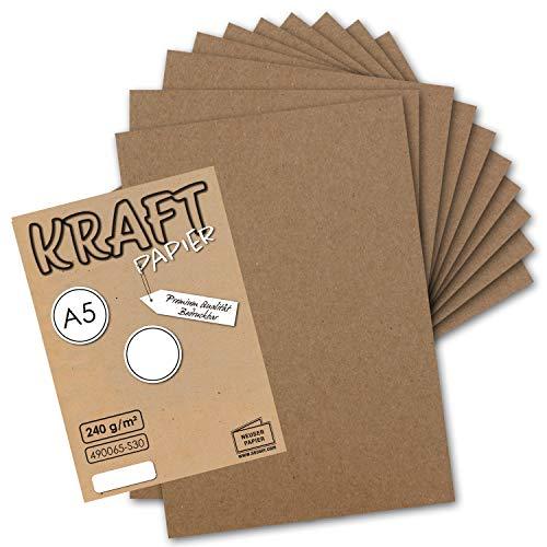 50x Vintage Kraftpapier - DIN A5 - 21 x 14,8 cm - 250 g/m² natur-braunes Recycling-Papier, 100% ökologisch Bastel-Karton Einzel-Karte - NEUSER PAPIER