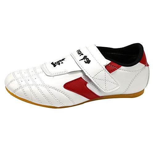 FJJLOVE Taekwondo-Schuhe, Breathable Anti-Rutsch-Sport-Schuh PU-Leder Kampfsport Schuhe Boxing Gym Sneaker für Erwachsene und Kinder,Rot,42
