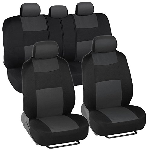 BDK PolyPro Car Seat Covers, Full Set in Charcoal on Black – Front and Rear Split Bench Protection, Easy to Install, Universal Fit for Auto Truck Van SUV, Charcoal Gray