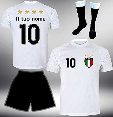 DE-Fanshop Italien Trikot Set 2018 mit Hose & Stutzen GRATIS Wunschname + Nummer im EM WM Weiss Typ #IT1ths - Geschenke für Kinder Erw. Jungen Baby Fußball T-Shirt Bedrucken Italia
