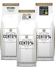 Proefpakket premium Caffè Cento% koffiebonen | Fairtrade, biologisch & Rainforest Alliance | 3 x 750 gram | 100% Arabica