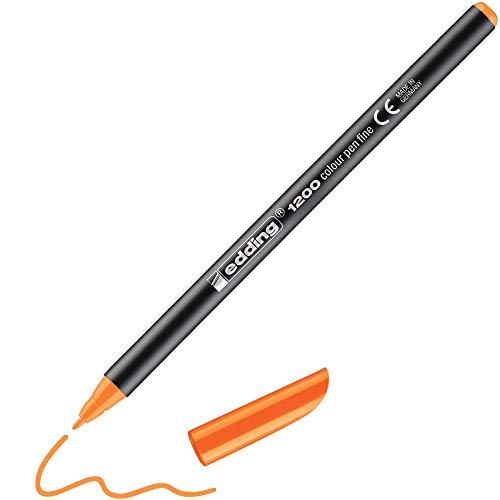 edding 1200 Fasermaler fein - neon-orange - 1 Stift - Rundspitze 1 mm - Filzstift zum Zeichnen und Schreiben - für Schule, Mandala