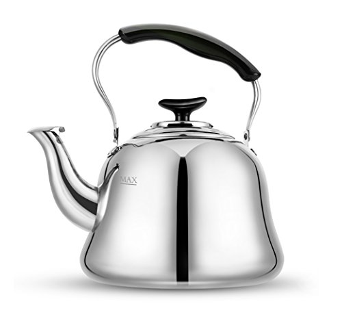 Tea Kettle Stovetop Whistling Teakettle Teapot Stainless Steel Thin Base Mirror Finish 2 liters