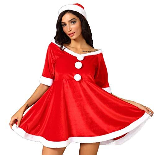 Vestido Corto Rojo Vestidos Mujer Navidad con Sombrero Papa Noel Vestido de Felpa Sin Hombros de Manga Corta Disfraces Navidad Adulto para Cosplay Rendimiento Fiesta Discoteca Carnaval XXXL