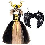 MFFACAI Disfraz de Maléfica Tul para niña, Alas de Angel | Traje Cosplay Hada Reina Malvada Bruja Fantasía para Fiestas Cosplay Halloween Carnaval Cumpleaños (Color : Yellow, Size : 6-7Y)