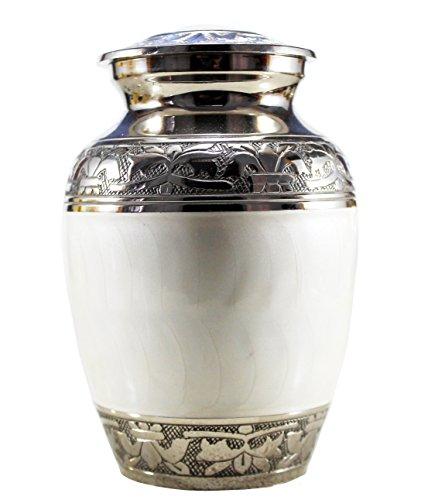 eSplanade Latón Blanco Urnas de cremación Urnas Contenedor conmemorativo Frasco de Recipiente   Urnas De Latón   Urna de Metal   Urna de entierro (Tamaño pequeño)