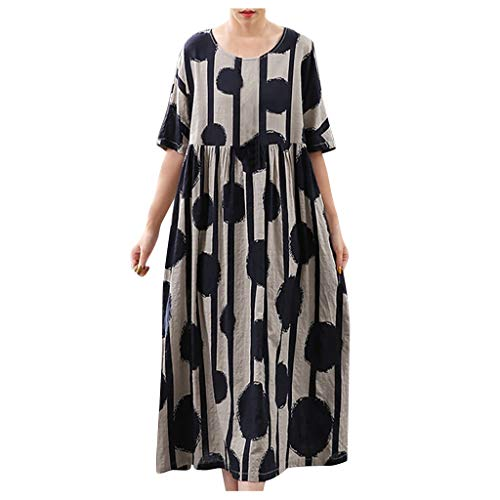 Plus Size Dresses for Women Casual, QueenMM Printed Daily Sleeveless Vintage Bohemian V Neck Maxi Summer Dress D-Navy