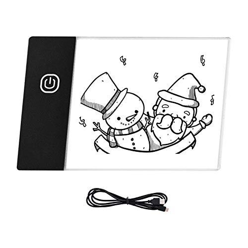 QinWenYan LED Light Pad LED Light Pad Ultra-thin Light Box USB Powered Dimmable Brightness Office Stationery (Color : Black, Size : One size)