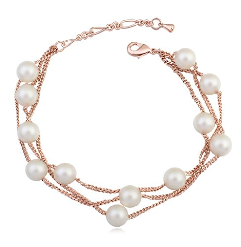 Bracciale multifilo da donna con perle di cristallo bianche Swarovski, placcato oro 18ct, per donne, lunghezza 19,3cm