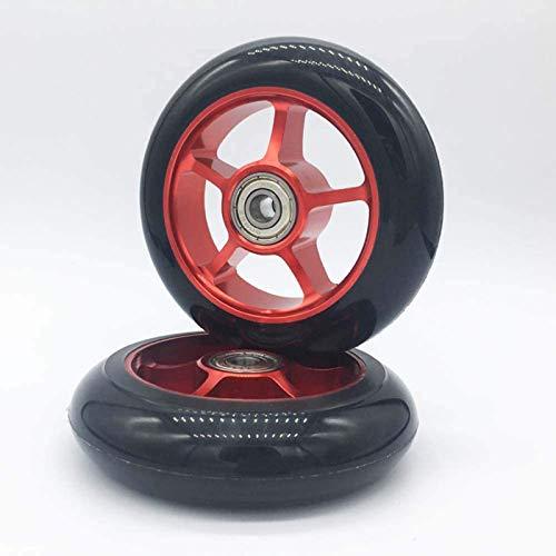 Wheels 100mm Pro Scooter Scooter Ruedas para Niños 100mm Metal Scooter Reemplazo Rodamientos Instalados, 2pcs(Color:Negro)