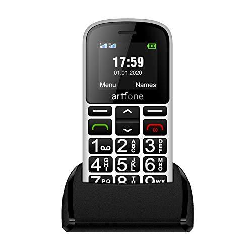 Teléfonos Móviles para Mayores con Teclas Grandes, artfone Senior, Fácil de Usar Celular para Ancianos con Botón SOS y Base cargadora, Blanco