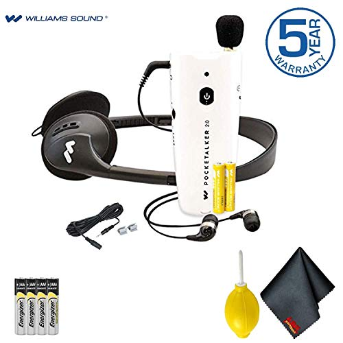 Williams Sound Pocketalker 2.0 Personal Amplifier Advanced Bundle - Includes - Extra Batteries and Cleaning Kit with Micro-Fiber Cloth