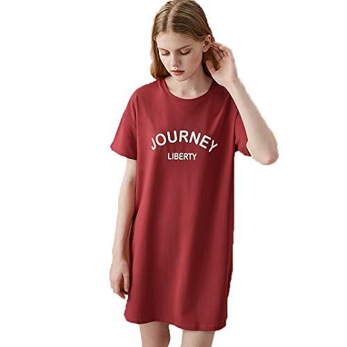 DyM Camisón de mujer de algodón de manga corta de verano suelto de gran tamaño sección delgada estudiante lindo falda de longitud media pijamas servicio a domicilio(Color:red,Size:S)