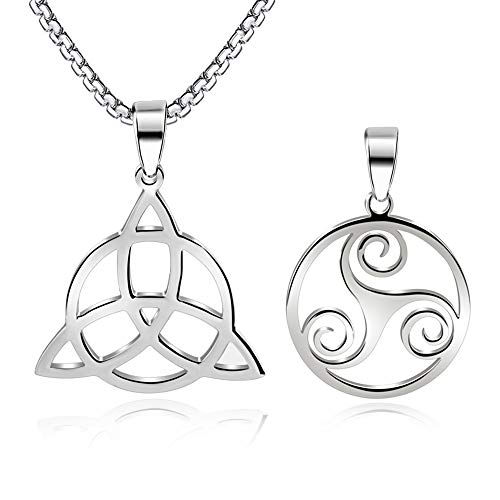 FLYUN Good Luck Irish Celtic Trinity Knot Pendant for Women Girls Vintage Triquetra Triangle Necklace Stainless Steel Jewelry (Trinity - Steel Color)