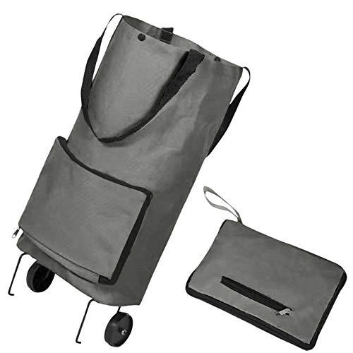 Bolsa plegable 2 en 1 con ruedas, plegable, plegable, cesta de la compra, reutilizable, bolsas de compras portátiles, bolsas de comestibles con ruedas, puede estar de pie (gris)