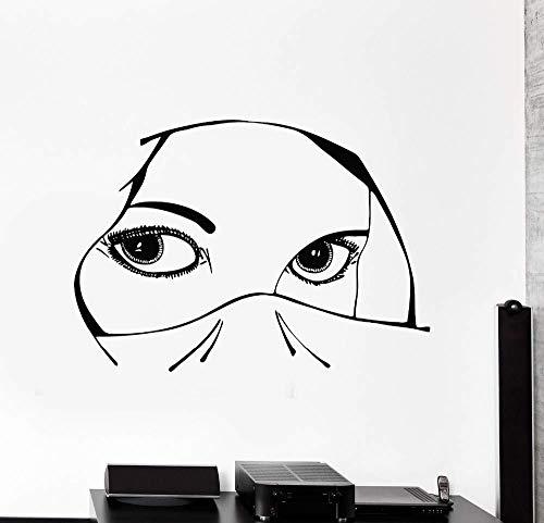 Vinyl Aufkleber Aufkleber Augen Arabisch Schöne Frau Mädchen Dekoration Für Schlafzimmer Kunst Wandbild 105X71Cm