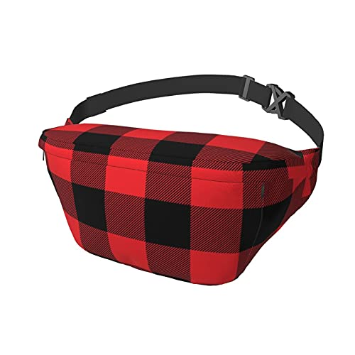 Sport-Brusttasche Sling Bag Crossbody Schulterrucksack rot kariert Geschenkpapier Fashion Trend Taille Tagesrucksack für Reisen Gym Sport Wandern Radfahren für Männer Frauen