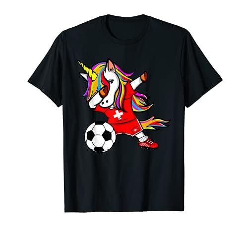 Unicorno Dabbing Unicorn Svizzera Calcio Bandiera Svizzera Maglietta