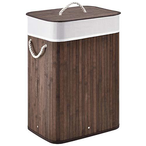Juskys Bambus Wäschekorb Curly mit Deckel & Polyester Wäschesack | 72 Liter | 1 Fach | rechteckig | braun | Wäschesammler Wäschetonne Wäschetruhe