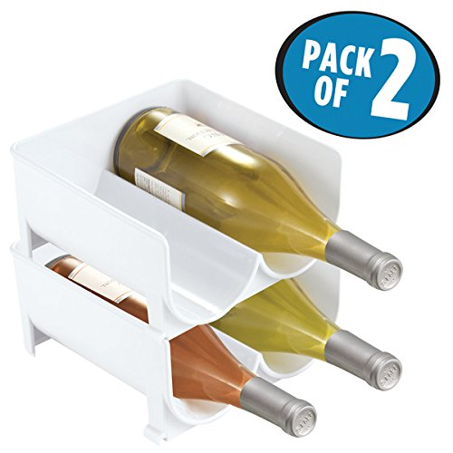mDesign Stackable Wine Bottle Storage Rack for Kitchen Cabinet, Countertops - Holds 4 Bottles, White