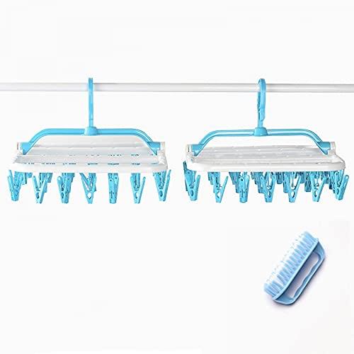 shuwen 2 Piezas Estante Secado Ropa Interior,32 Clips Percha Plegable Secador Ropa Calcetines a Prueba de Viento Estante de Secado de Ropa Interior Niños-Blue*2+Cleaning Brush