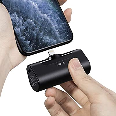 iWALK Mini Portable Charger 4500mAh Ultra-Compact Power Bank Small and Cute Battery Pack Compatible with iPhone 12 Mini/12/12 Pro/12 Pro Max/11 Pro/XS Max/XR/X/8/7/6/Plus?Airpods and More,black