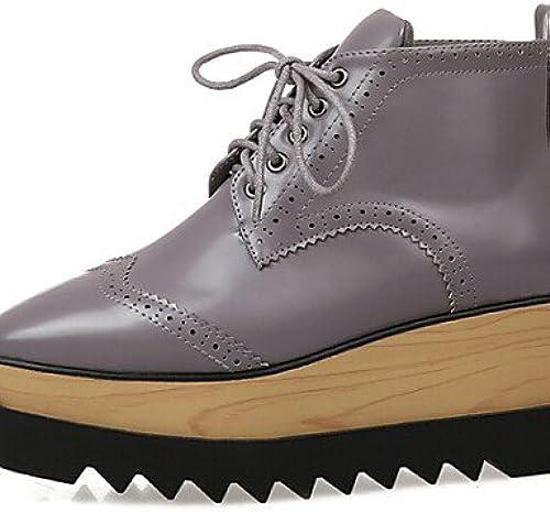 XZZ  Chaussures Femme - Extérieure - Noir   gris - Plateforme - Confort - Bottes - Similicuir
