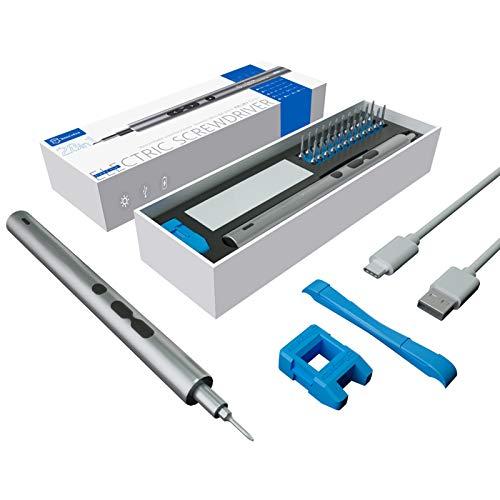 Opaltool 28 in 1 Juego de Destornilladores de Precisión Electrico, Kit de Herramientas Magnéticas de Reparación de Recargables USB para Computadora portátil/Reloj/Cámara/Computadora
