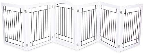 Internet's Best Indoor Dog Gate with Door - 6 Panel - 30 Inch Tall - Enclosure Kennel Pet Puppy Safety Fence Pen Playpen - Durable Wooden and Wire - Folding Z Shape Free Standing - White