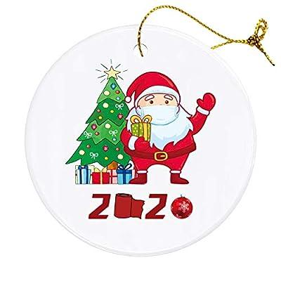 Klurent Christmas Ornaments Santa Hanging Decor, Xmas Personalized 2020 Quarantine Theme Creative Hanging Santa Decorations, Xmas Tree Ornaments Hanging Pendants, Christmas Party Gift.