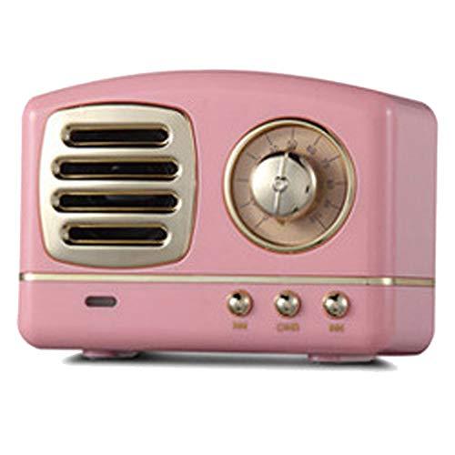 DXIA Radio Portátil Altavoces Bluetooth, Altavoz Bluetooth Retro, Radio Mini de Estilo clásico, Bluetooth 4.1, Tarjeta AUX TF y Reproductor de MP3 (Rosa)