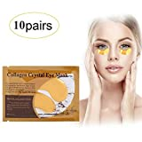 Collagen Eye Mask,10 Pairs 24K Gold Anti-Aging Mask Under Eye Patches Treatment Pads for Nourishing Moisturizing Reduce Dark Circles Puffiness Eye Bags Crow's Feet Anti-Wrinkle