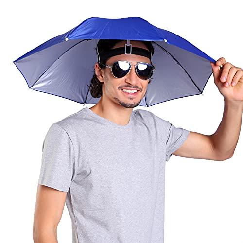 massmall 26' Diameter Elastic Band hands free fishing umbrella/Umbrella Hat for men women Dark Blue