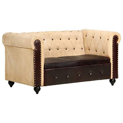 Festnight Chesterfield-Sofa 2-Sitzer Braun Loungesofa Sitzbank Bank Polsterbank Sitzmöbel Ledersofa Wohnzimmersofa 148 x 75 x 75 cm