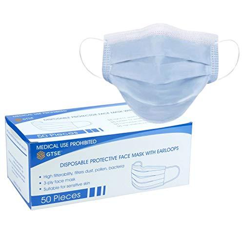 GTSE (50 Stück) Einweg-Masken, 3-lagig, Einheitsgröße, Blau, schützt vor Staub, atmungsaktiv, Einweg-Ohrschlaufen, Mundschutz, Gesichtsschutzmasken