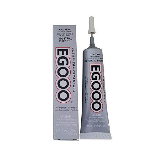 ELEpure 1Pc EGOOO Strong Glue for Garment Fabric, DIY Jewelry Adhesive Glue, Fully Transparent Soft Glue for Ceramic Leather Fabric Wood Crafts Metal (75g)