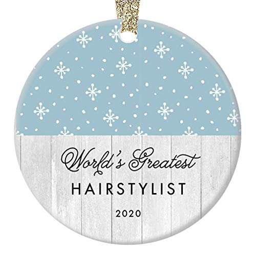 "World's Greatest Hairstylist Ornament 2020, Hair Stylist Xmas Present for Hairdresser Barber Professional Winter Holiday Ceramic Porcelain Keepsake 3"" Flat Circle with Gold Ribbon & Free Gift Box"