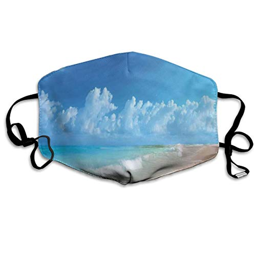 Personal Outdoor Windproof Mask,Tropical Seacoast Wavy Ocean Fluffy Clouds On Horizon Summer Holidays Scenery,Printed Facial Decorations For Adult