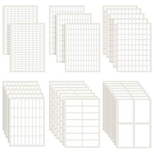 1723 etiquetas adhesivas de color blanco mate extraíbles rectangulares etiquetas adhesivas en blanco para etiquetar y organizar objetos pequeños (6 tamaños combinados)