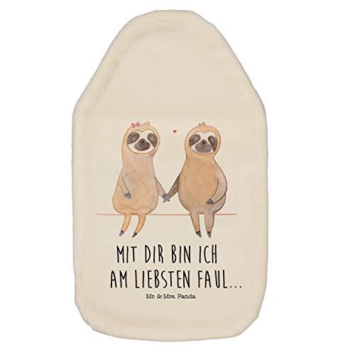Mr. & Mrs. Panda Kinderwärmflasche, Wärmekissen, Wärmflasche Faultier Pärchen mit Spruch - Farbe Weiß