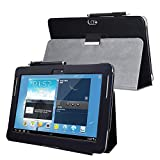 Kuesn for Samsung Galaxy Note 10.1 (2012 Edition) GT N8013 N8000 Flip case Cover - SCH-I925 Folio Stand Back Book Cover for GT-N8010 N8005 N8020 Tablet pu Leather case (Black)