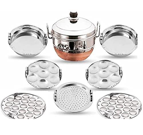 IM ENTERPRISE Stainless Steel Idli Cooker Multi Kadai Steamer with Copper Bottom All-in-One Big Size 5 Plate 2 Idli   2 Mini Idli   2 Dhokla   1 Patra   Momo's   5 in 1   28.5 cm Dia.
