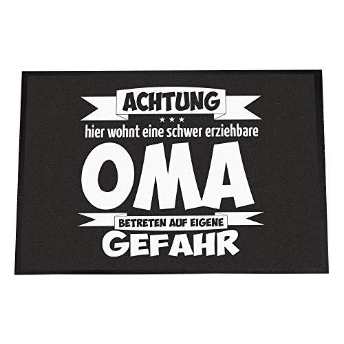 4you Design Fußmatte Schwer erziehbare Oma - Betreten auf eigene Gefahr - 40 x 60 cm - rutschfeste Schmutzfangmatte - klein & groß (Oma, 40 x 60 cm)